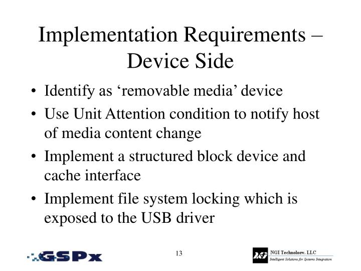 Implementation Requirements – Device Side
