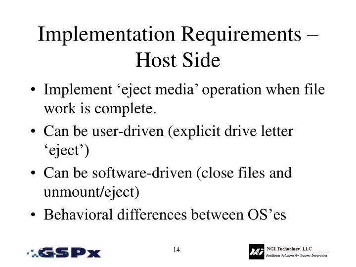 Implementation Requirements – Host Side