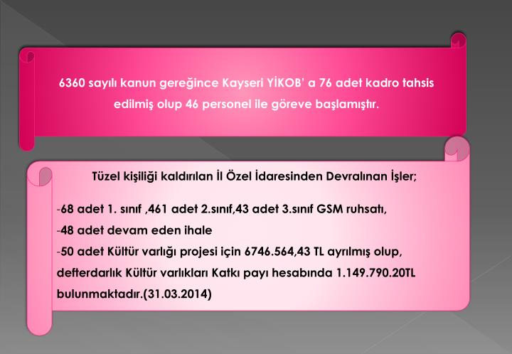 6360 sayılı kanun gereğince Kayseri YİKOB' a 76 adet kadro tahsis edilmiş olup 46 personel ile göreve başlamıştır.