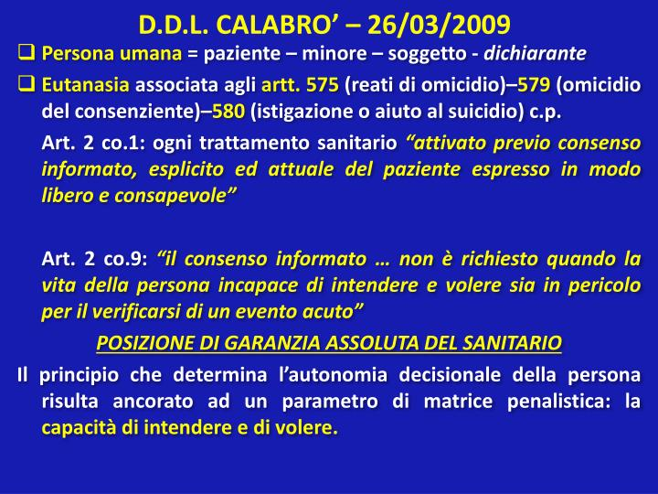 D.D.L. CALABRO' – 26/03/2009