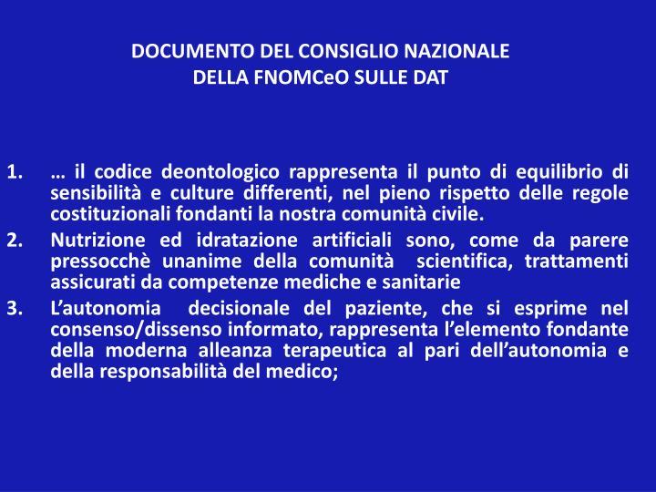 DOCUMENTO DEL CONSIGLIO NAZIONALE