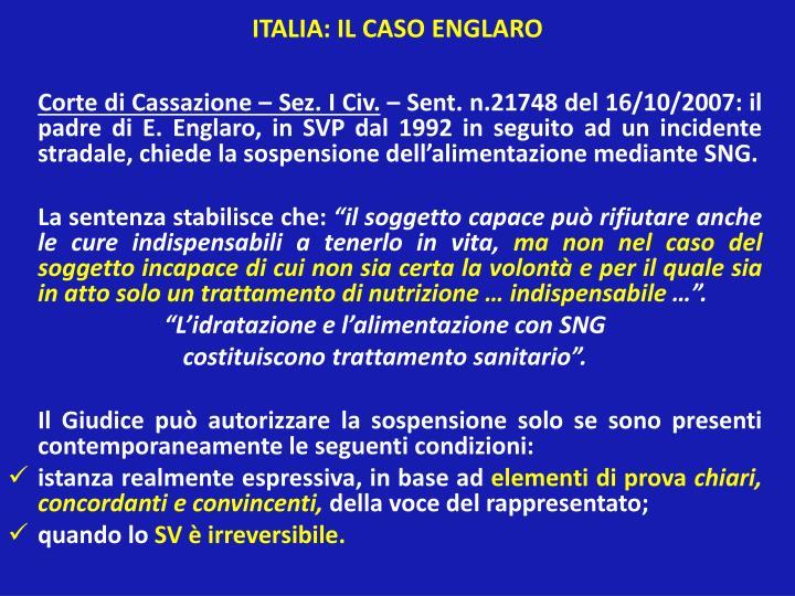 ITALIA: IL CASO ENGLARO