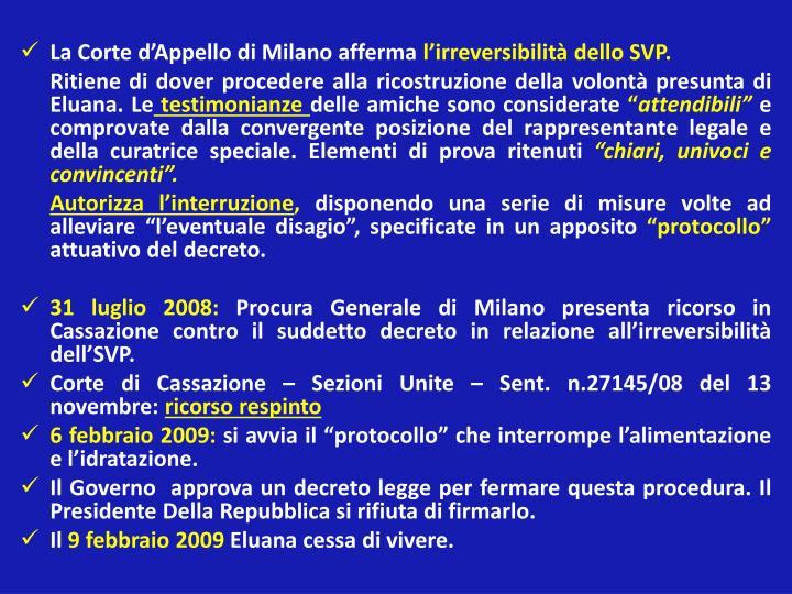 La Corte d'Appello di Milano afferma