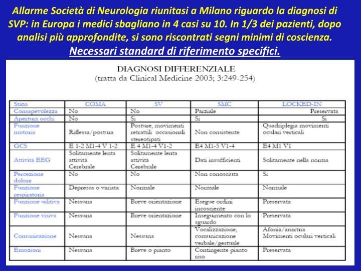 Allarme Società di Neurologia riunitasi a Milano riguardo la diagnosi di SVP: in Europa i medici sbagliano in 4 casi su 10. In 1/3 dei pazienti, dopo analisi più approfondite, si sono riscontrati segni minimi di coscienza.