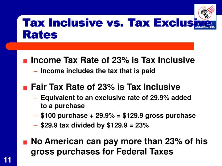 Tax Inclusive vs. Tax Exclusive Rates