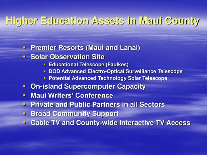 Higher Education Assets in Maui County