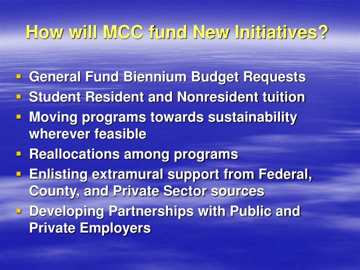 How will MCC fund New Initiatives?