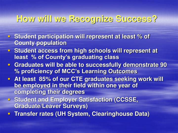 How will we Recognize Success?
