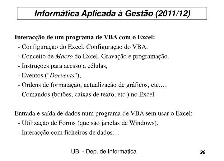 Interacção de um programa de VBA com o Excel: