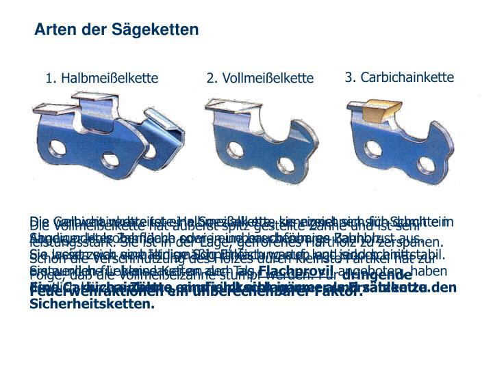 Arten der Sägeketten
