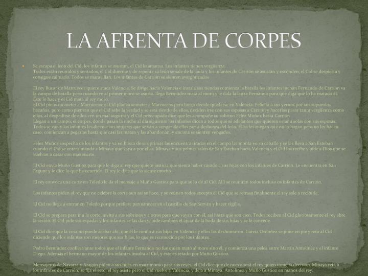 LA AFRENTA DE CORPES