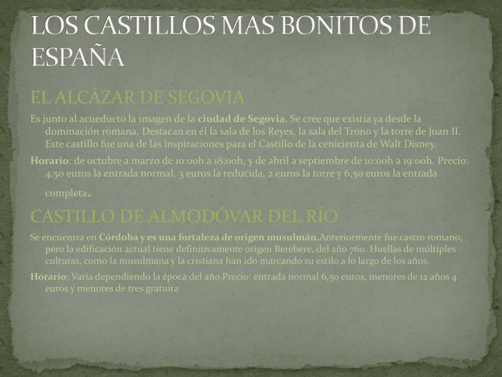 LOS CASTILLOS MAS BONITOS DE ESPAÑA