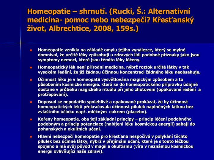 Homeopatie – shrnutí. (