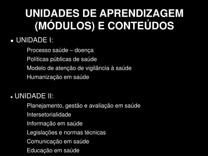 UNIDADES DE APRENDIZAGEM (MÓDULOS) E CONTEÚDOS