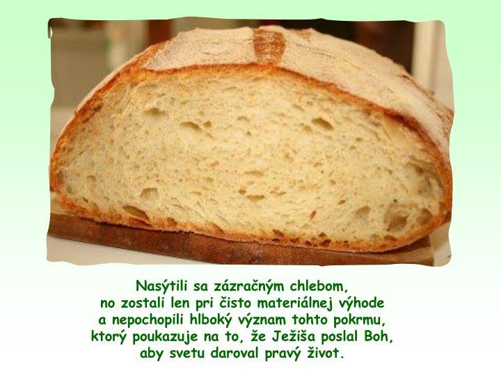 Nastili sa zzranm chlebom,                                               no zostali len pri isto materilnej vhode                                     a nepochopili hlbok vznam tohto pokrmu,                                 ktor poukazuje na to, e Jeia poslal Boh,                            aby svetu daroval prav ivot.