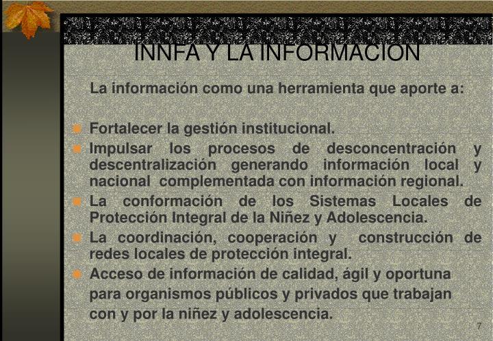 INNFA Y LA INFORMACIÓN
