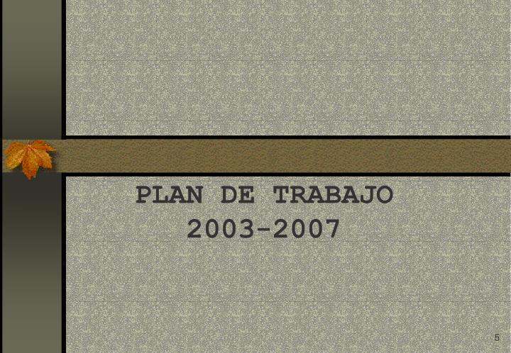 PLAN DE TRABAJO 2003-2007