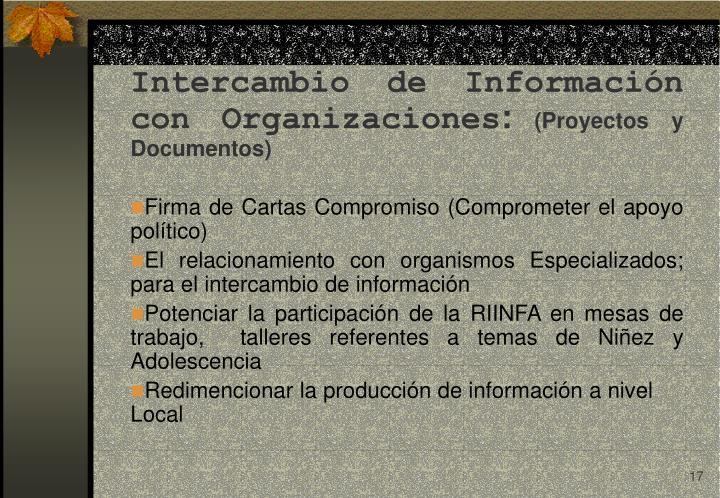 Intercambio de Información con Organizaciones