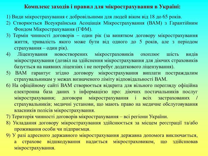Комплекс заходів і правил для мікрострахування в Україні: