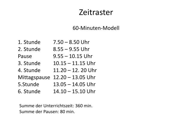 Zeitraster für das 60- bzw. 90-Minuten-Modell