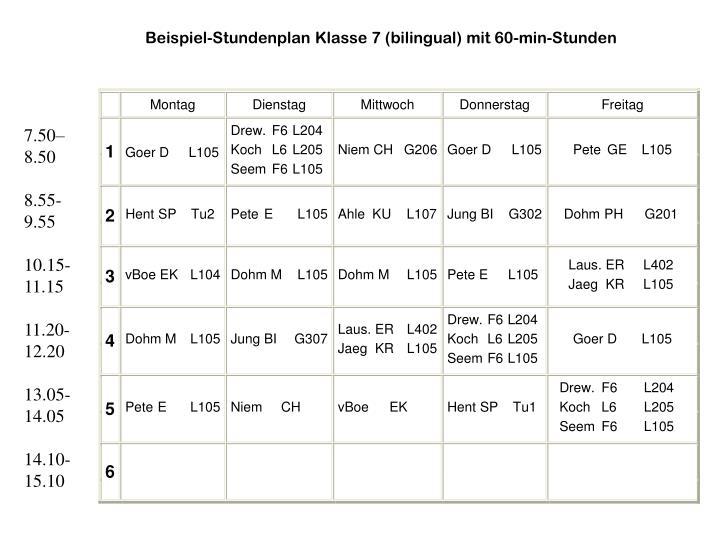 Beispiel-Stundenplan Klasse 7 (bilingual) mit 60-min-Stunden