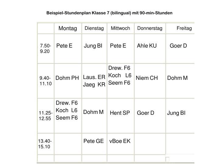 Beispiel-Stundenplan Klasse 7 (bilingual) mit 90-min-Stunden