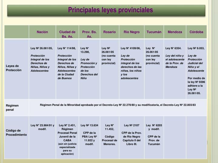 Principales leyes provinciales
