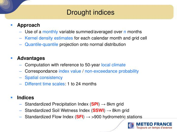 Drought indices