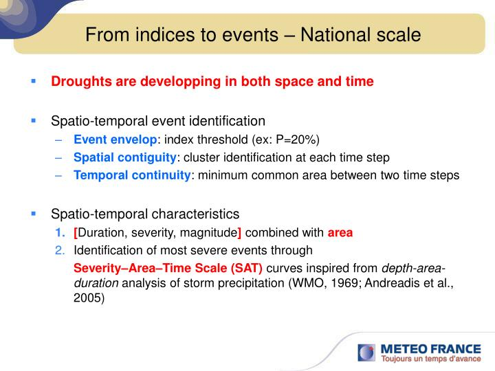 From indices to events – National scale