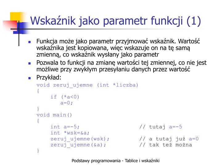 Wskaźnik jako parametr funkcji (1)