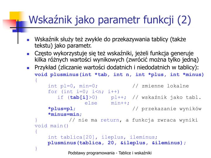 Wskaźnik jako parametr funkcji (2)