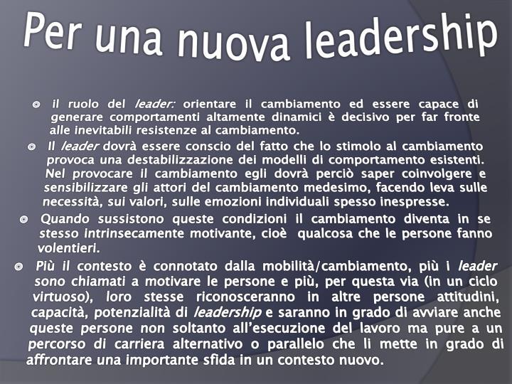 Per una nuova leadership