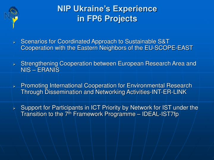 NIP Ukraine's Experience