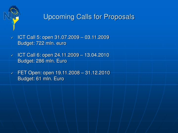 Upcoming Calls for Proposals