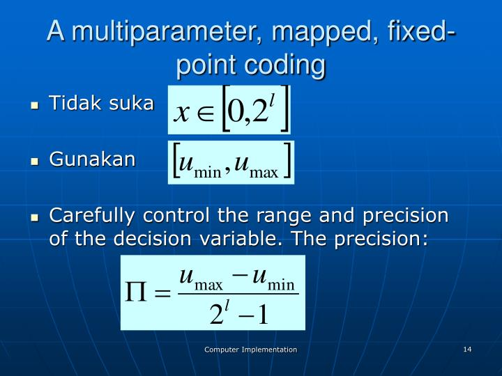A multiparameter, mapped, fixed-point coding