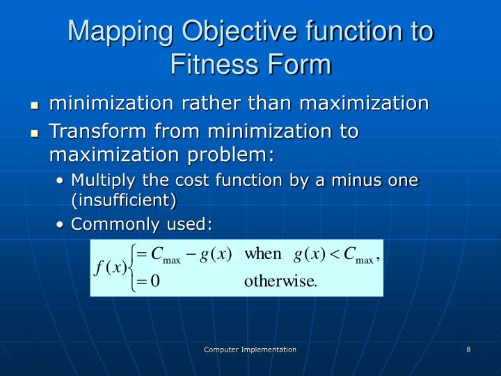 Mapping Objective function to Fitness Form