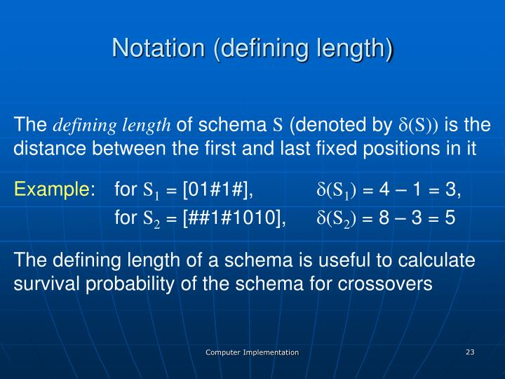 Notation (defining length)