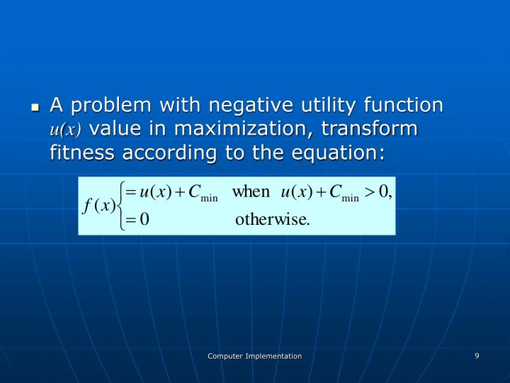 A problem with negative utility function