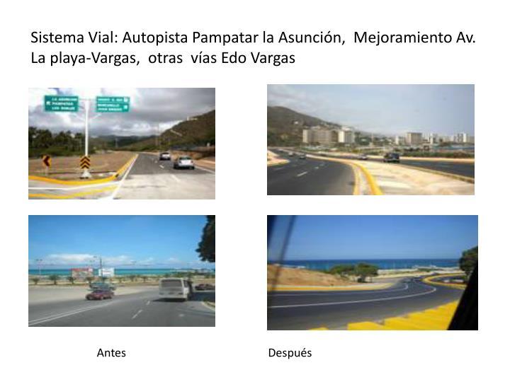 Sistema Vial: Autopista Pampatar la Asunción,  Mejoramiento Av. La playa-Vargas,  otras  vías Edo Vargas