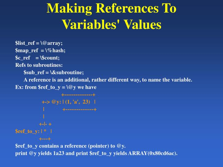 Making References To Variables' Values