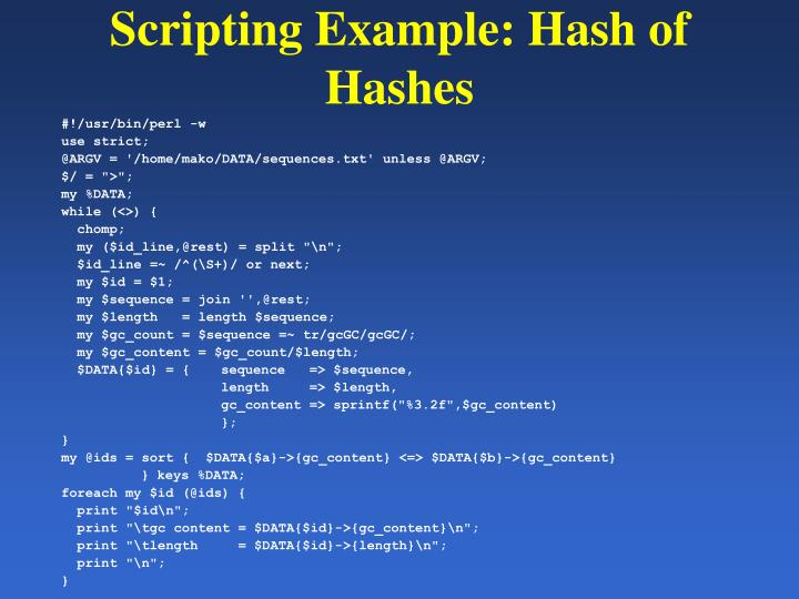 Scripting Example: Hash of Hashes