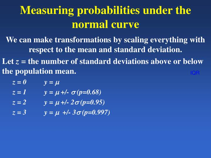 Measuring probabilities under the normal curve