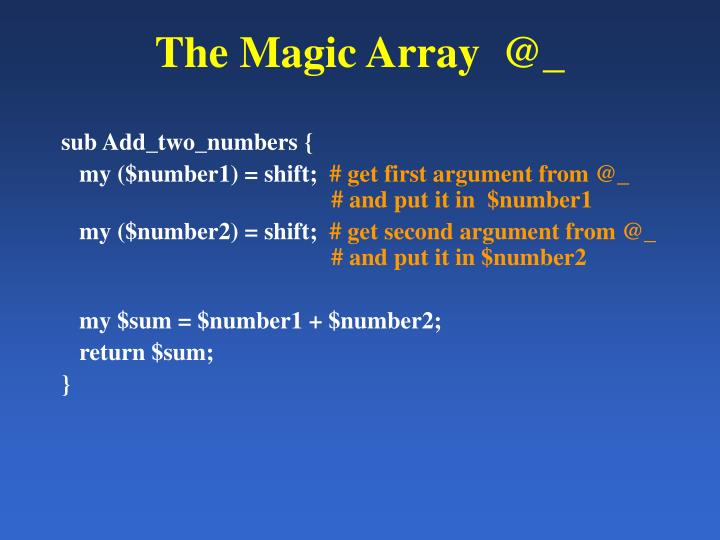 The Magic Array  @_