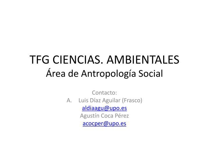 TFG CIENCIAS. AMBIENTALES