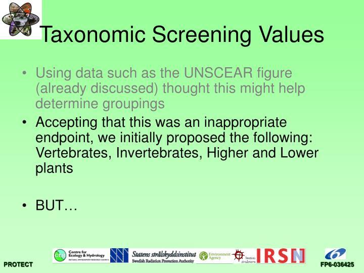 Taxonomic Screening Values