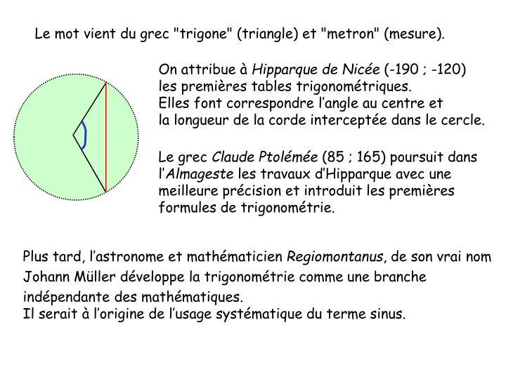 """Le mot vient du grec """"trigone"""" (triangle) et """"metron"""" (mesure)."""