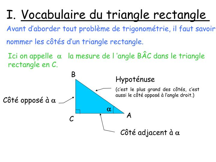 Vocabulaire du triangle rectangle