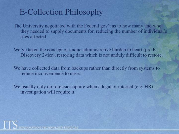 E-Collection Philosophy