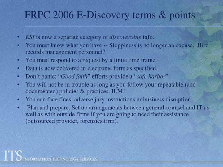 Frpc 2006 e discovery terms points