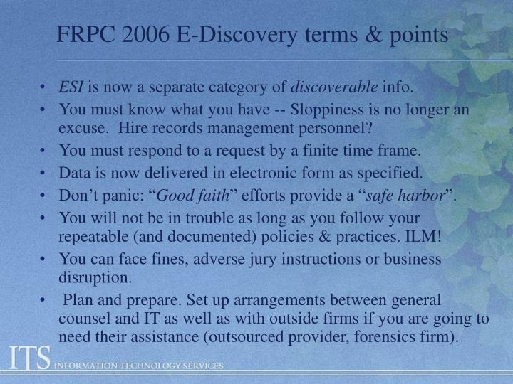 FRPC 2006 E-Discovery terms & points